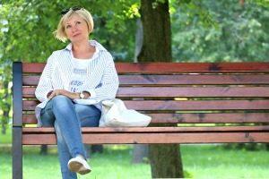 Thinking on bench